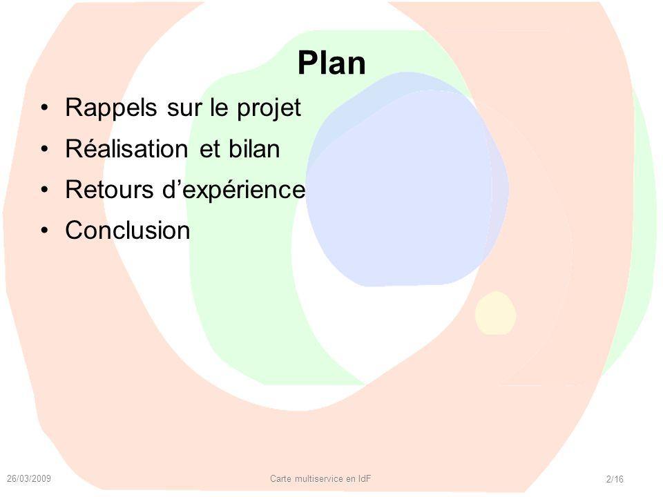 26/03/2009 Carte multiservice en IdF 2/16 Plan Rappels sur le projet Réalisation et bilan Retours dexpérience Conclusion