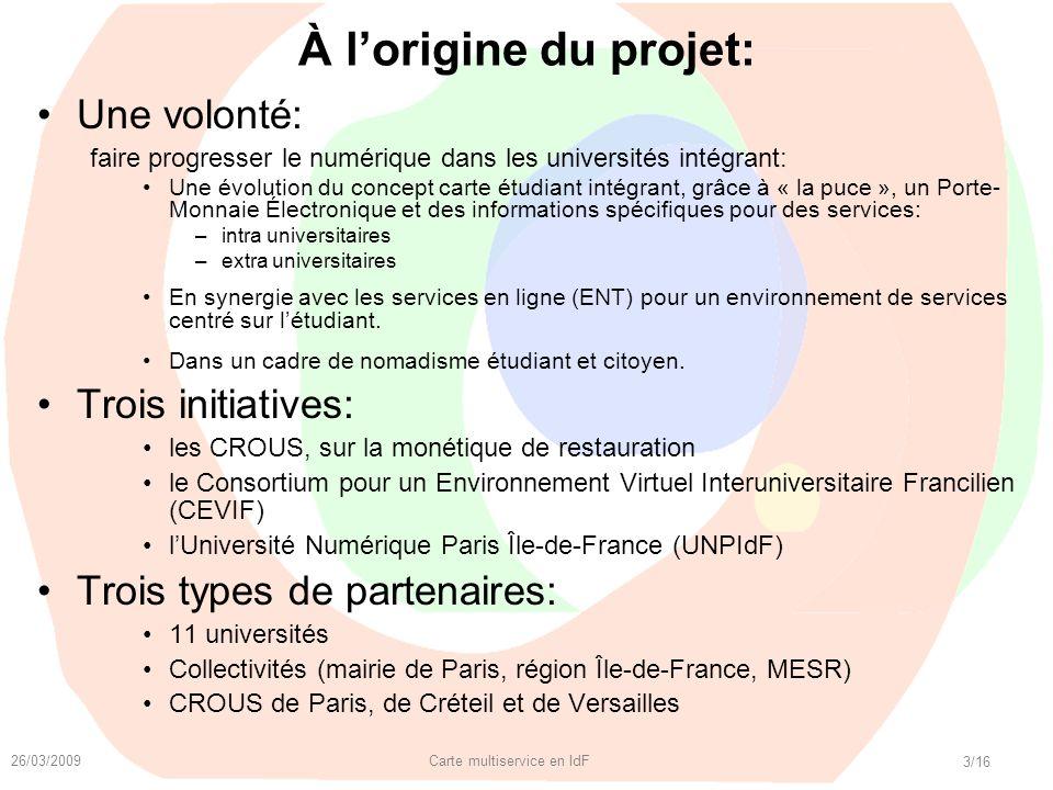 26/03/2009 Carte multiservice en IdF 3/16 À lorigine du projet: Une volonté: faire progresser le numérique dans les universités intégrant: Une évoluti