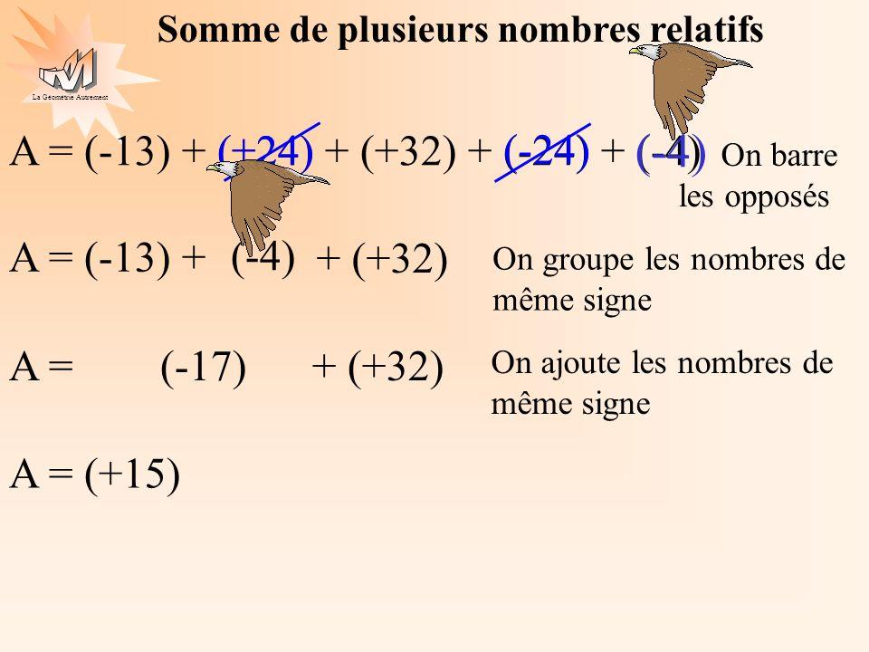 La Géométrie Autrement A = (-13) + (+24) + (+32) + (-24) + (-4)(+24) (-24) A = (-13) + (-4) A = (-17) + (+32) On ajoute les nombres de même signe A =
