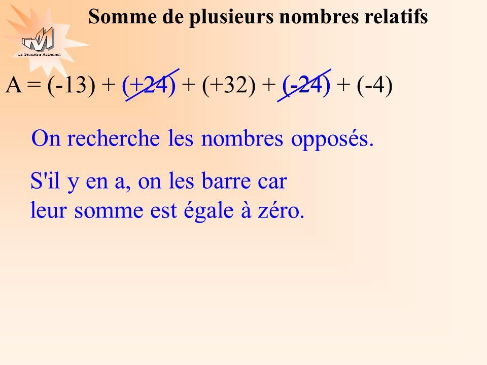 La Géométrie Autrement A = (-13) + (+24) + (+32) + (-24) + (-4)(+24) (-24) A = (-13) + (-4) A = (-17) + (+32) On ajoute les nombres de même signe A = (+15) On barre les opposés On groupe les nombres de même signe + (+32) Somme de plusieurs nombres relatifs (-4)