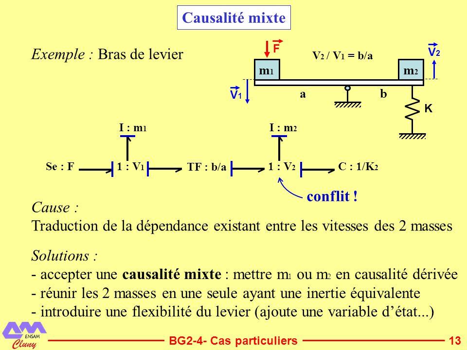 13 Causalité mixte Exemple : Bras de levier Solutions : - accepter une causalité mixte : mettre m 1 ou m 2 en causalité dérivée - réunir les 2 masses