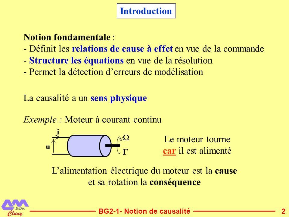 2 Introduction BG2-1- Notion de causalité Notion fondamentale : - Définit les relations de cause à effet en vue de la commande - Structure les équatio