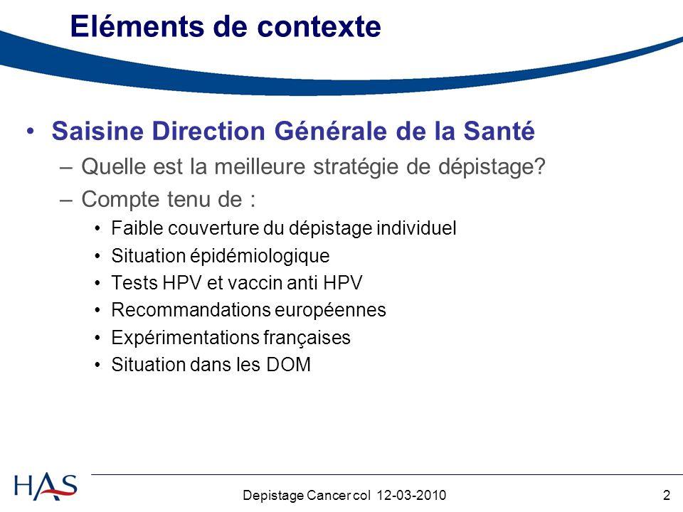 2Depistage Cancer col 12-03-2010 Eléments de contexte Saisine Direction Générale de la Santé –Quelle est la meilleure stratégie de dépistage.