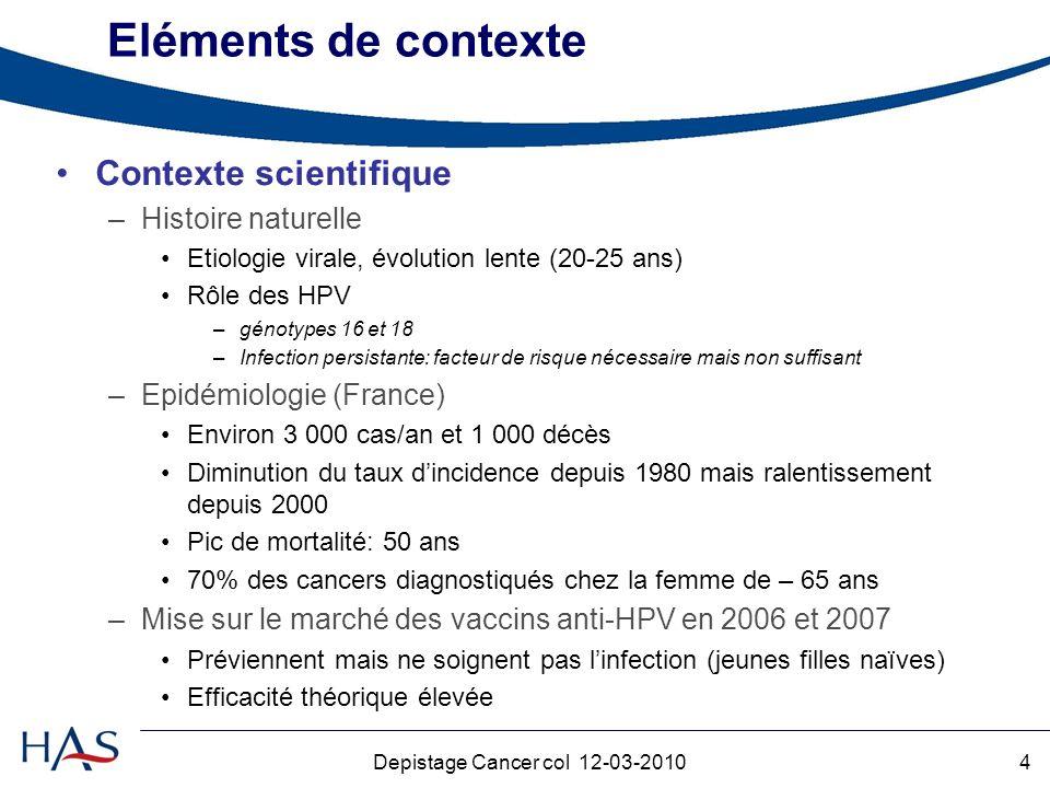 4Depistage Cancer col 12-03-2010 Eléments de contexte Contexte scientifique –Histoire naturelle Etiologie virale, évolution lente (20-25 ans) Rôle des HPV –génotypes 16 et 18 –Infection persistante: facteur de risque nécessaire mais non suffisant –Epidémiologie (France) Environ 3 000 cas/an et 1 000 décès Diminution du taux dincidence depuis 1980 mais ralentissement depuis 2000 Pic de mortalité: 50 ans 70% des cancers diagnostiqués chez la femme de – 65 ans –Mise sur le marché des vaccins anti-HPV en 2006 et 2007 Préviennent mais ne soignent pas linfection (jeunes filles naïves) Efficacité théorique élevée