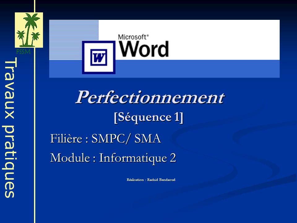 Perfectionnement [Séquence 1] Filière : SMPC/ SMA Module : Informatique 2 Réalisation : Rachid Bendaoud Travaux pratiques FSSM