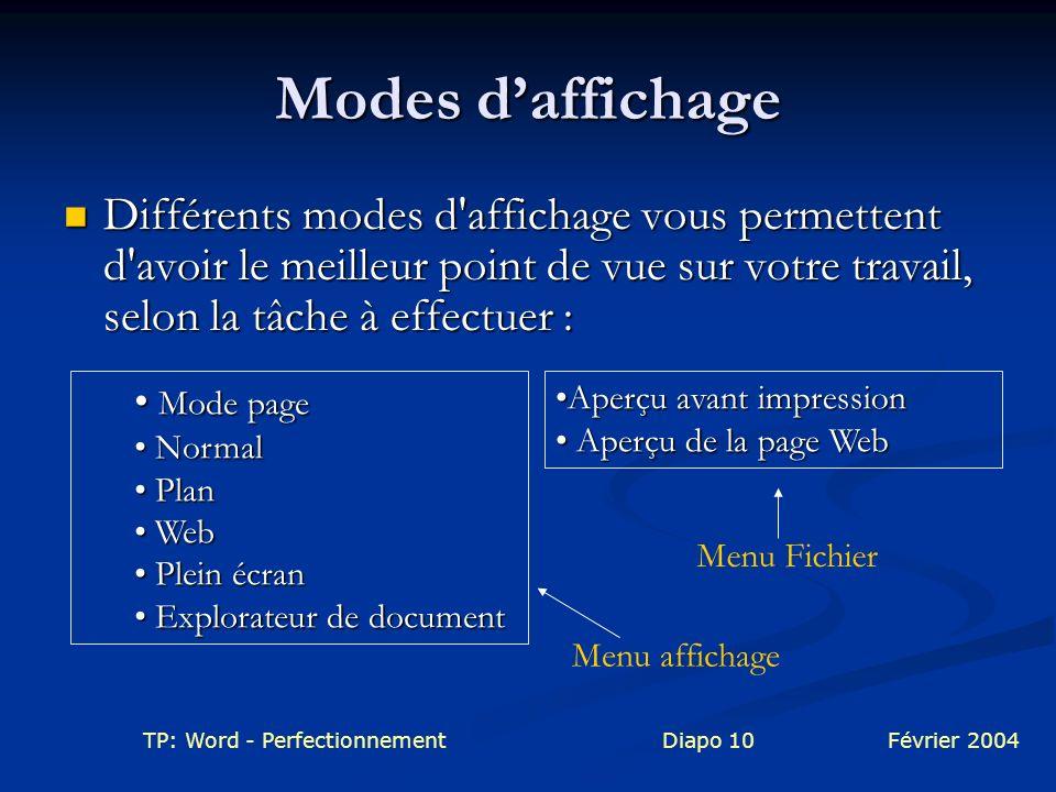 TP: Word - PerfectionnementDiapo 10Février 2004 Modes daffichage Différents modes d'affichage vous permettent d'avoir le meilleur point de vue sur vot