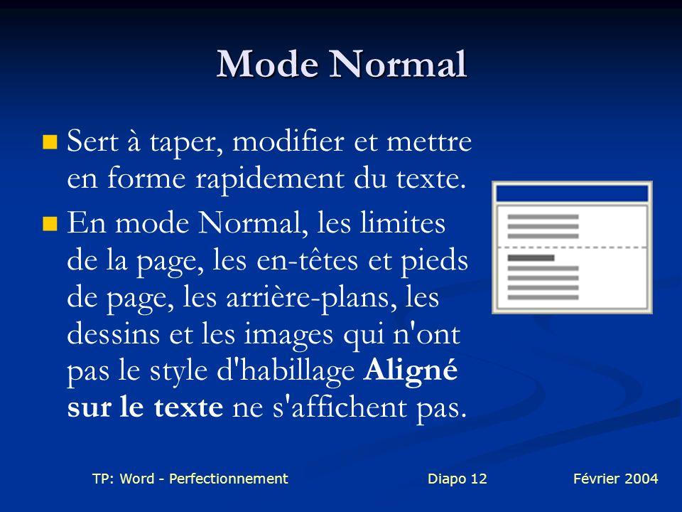 TP: Word - PerfectionnementDiapo 12Février 2004 Mode Normal Sert à taper, modifier et mettre en forme rapidement du texte. En mode Normal, les limites