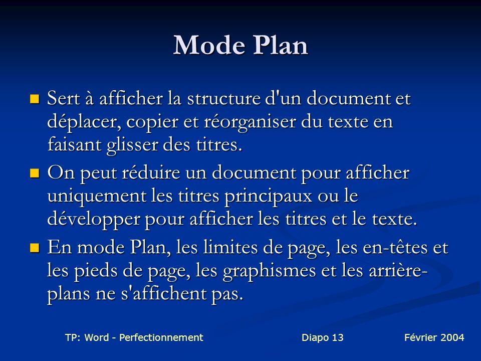 TP: Word - PerfectionnementDiapo 13Février 2004 Mode Plan Sert à afficher la structure d'un document et déplacer, copier et réorganiser du texte en fa