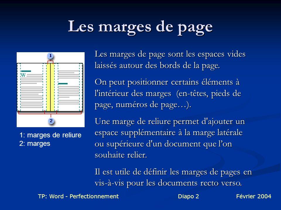TP: Word - PerfectionnementDiapo 2Février 2004 Les marges de page Les marges de page sont les espaces vides laissés autour des bords de la page. On pe