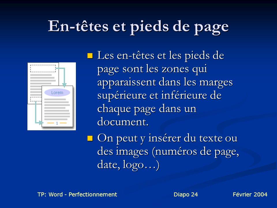 TP: Word - PerfectionnementDiapo 24Février 2004 En-têtes et pieds de page Les en-têtes et les pieds de page sont les zones qui apparaissent dans les m