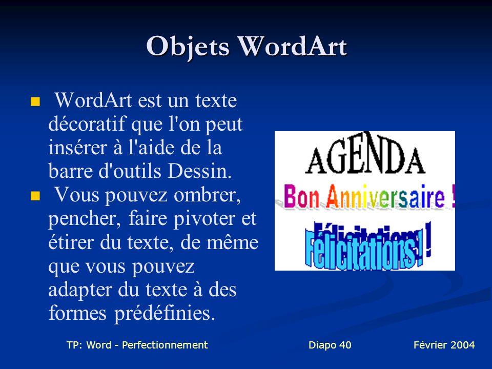 TP: Word - PerfectionnementDiapo 40Février 2004 Objets WordArt WordArt est un texte décoratif que l'on peut insérer à l'aide de la barre d'outils Dess
