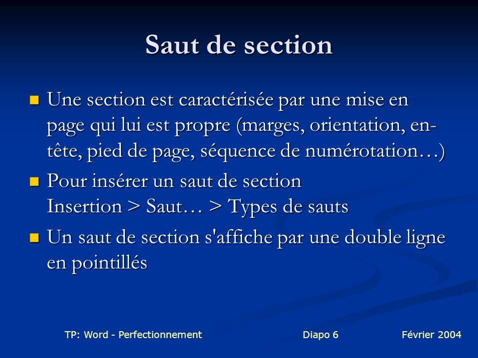TP: Word - PerfectionnementDiapo 6Février 2004 Saut de section Une section est caractérisée par une mise en page qui lui est propre (marges, orientati