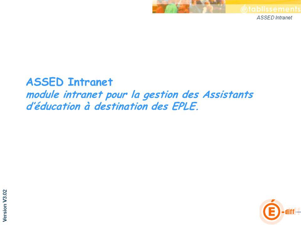 ASSED Intranet ASSED Intranet module intranet pour la gestion des Assistants déducation à destination des EPLE. Version V3.02