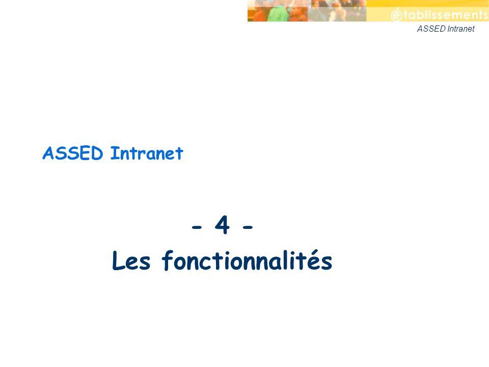 ASSED Intranet - 4 - Les fonctionnalités ASSED Intranet