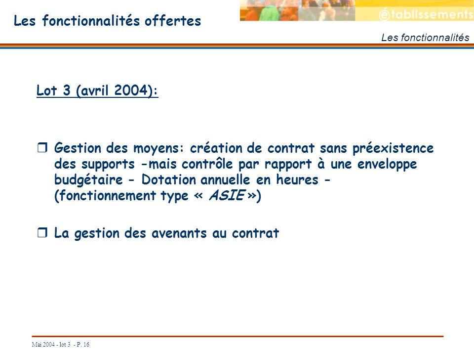 Mai 2004 - lot 3 - P. 16 Les fonctionnalités offertes Les fonctionnalités Lot 3 (avril 2004): Gestion des moyens: création de contrat sans préexistenc