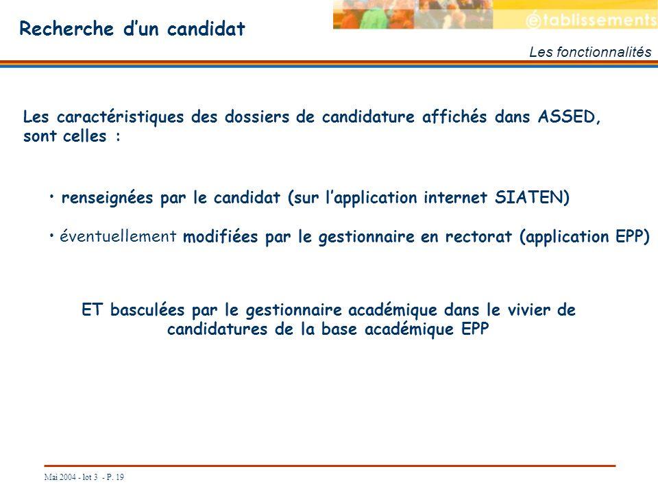 Mai 2004 - lot 3 - P. 19 Recherche dun candidat Les fonctionnalités Les caractéristiques des dossiers de candidature affichés dans ASSED, sont celles