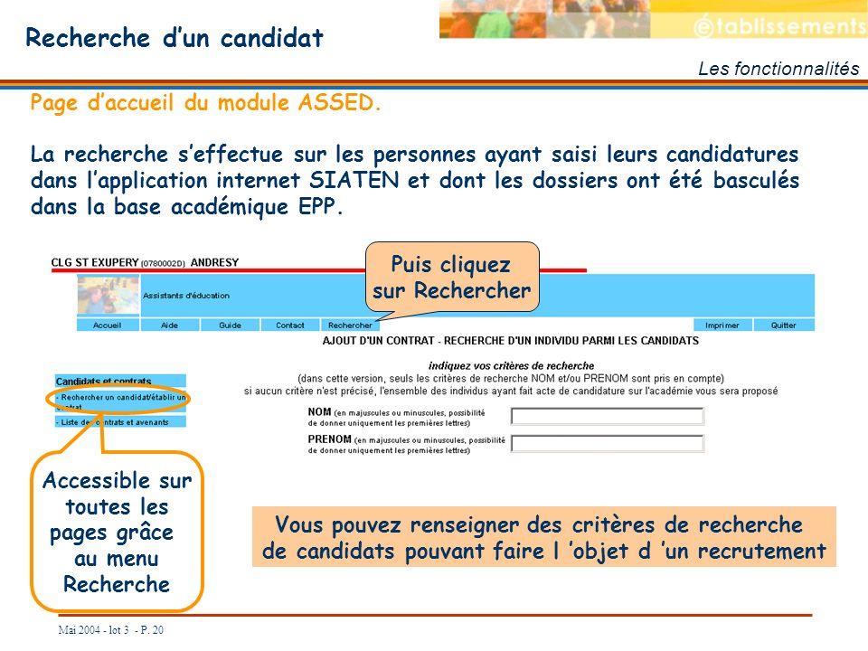 Mai 2004 - lot 3 - P. 20 Recherche dun candidat Les fonctionnalités Page daccueil du module ASSED. La recherche seffectue sur les personnes ayant sais