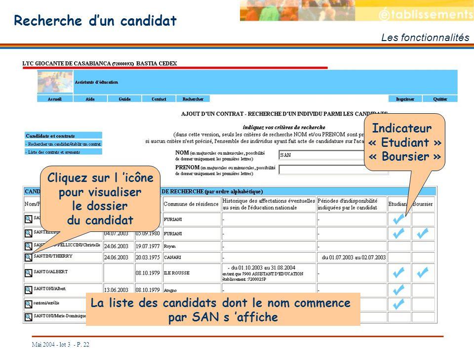 Mai 2004 - lot 3 - P. 22 Recherche dun candidat Les fonctionnalités La liste des candidats dont le nom commence par SAN s affiche Indicateur « Etudian