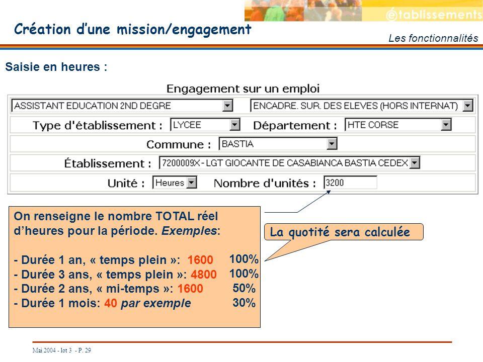 Mai 2004 - lot 3 - P. 29 Création dune mission/engagement Les fonctionnalités Saisie en heures : On renseigne le nombre TOTAL réel dheures pour la pér