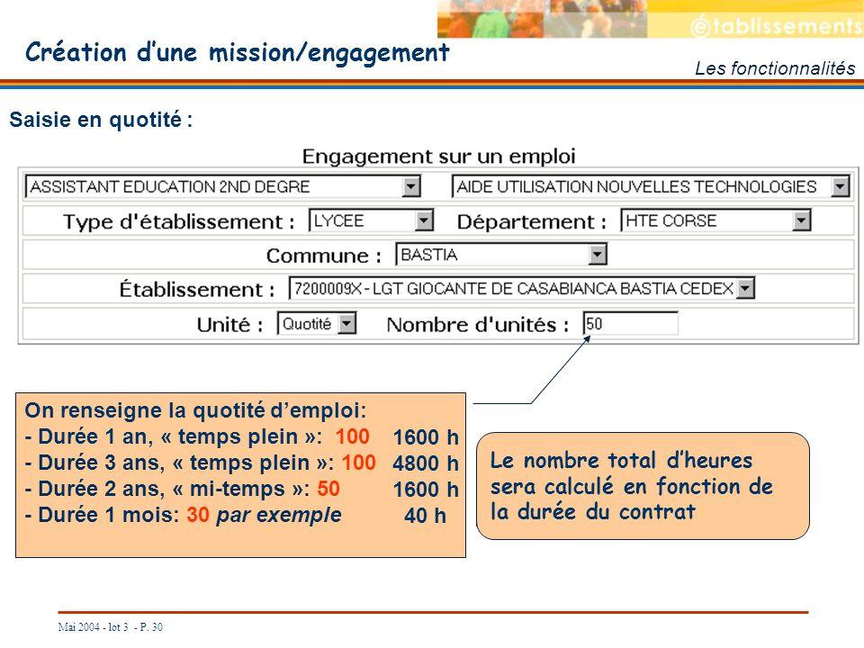 Mai 2004 - lot 3 - P. 30 Création dune mission/engagement Les fonctionnalités Saisie en quotité : On renseigne la quotité demploi: - Durée 1 an, « tem