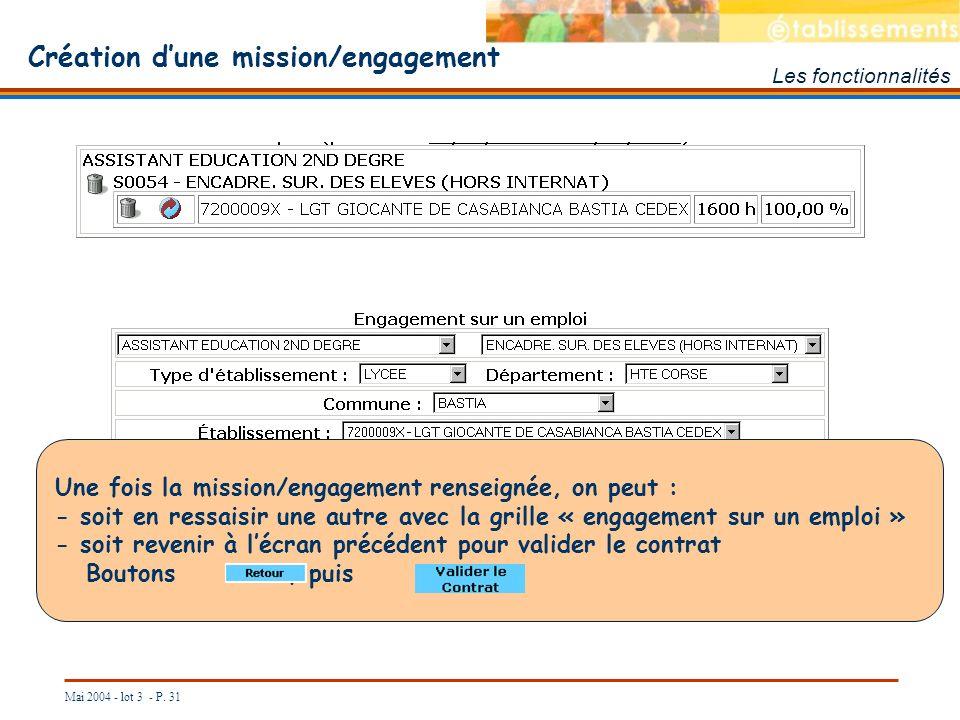 Mai 2004 - lot 3 - P. 31 Les fonctionnalités Création dune mission/engagement Une fois la mission/engagement renseignée, on peut : - soit en ressaisir