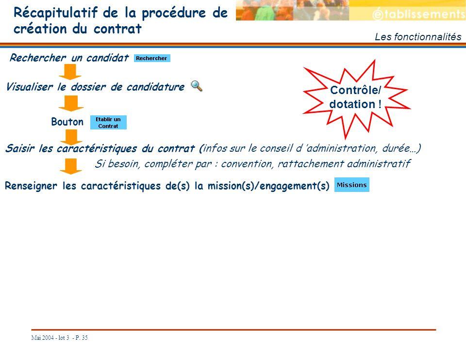 Mai 2004 - lot 3 - P. 35 Récapitulatif de la procédure de création du contrat Les fonctionnalités Saisir les caractéristiques du contrat (infos sur le