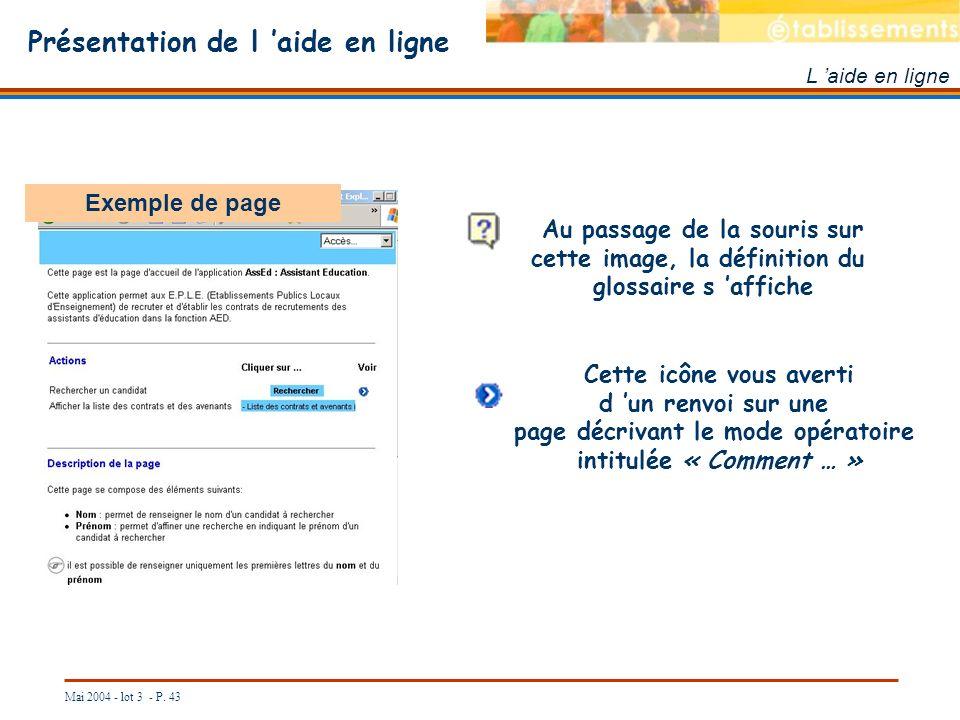 Mai 2004 - lot 3 - P. 43 Présentation de l aide en ligne L aide en ligne Exemple de page Au passage de la souris sur cette image, la définition du glo