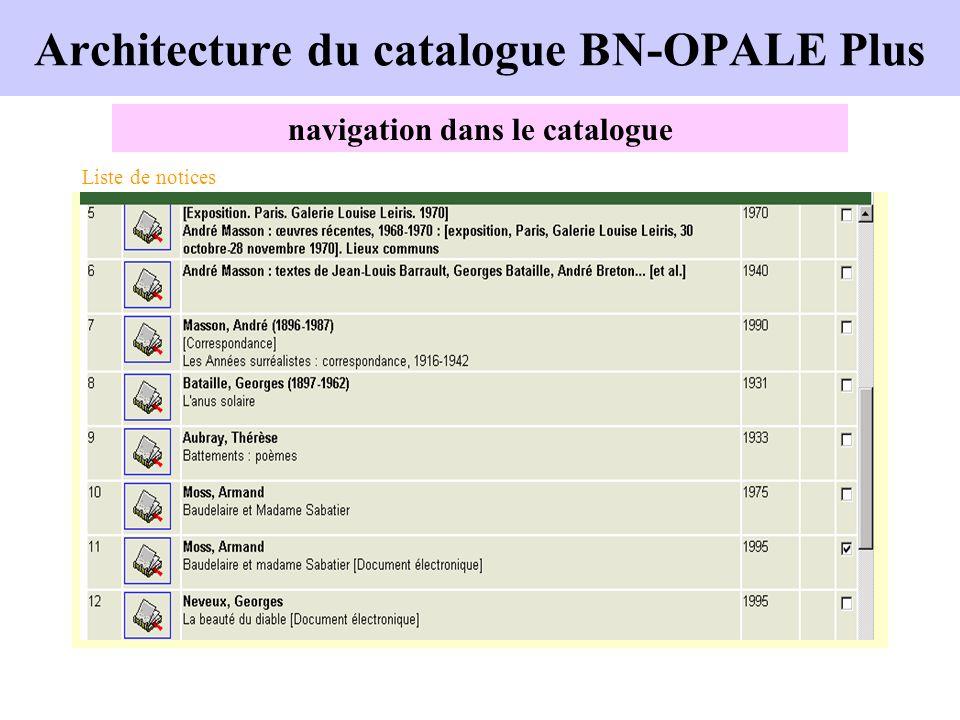 Architecture du catalogue BN-OPALE Plus navigation dans le catalogue Liste de notices