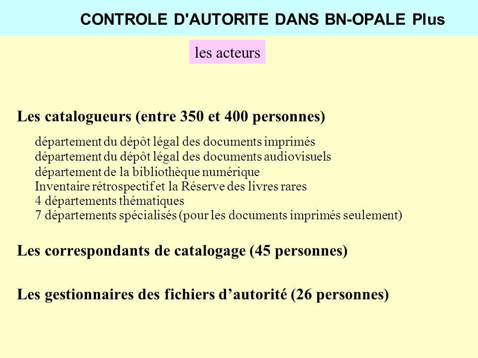 CONTROLE D'AUTORITE DANS BN-OPALE Plus les acteurs Les catalogueurs (entre 350 et 400 personnes) département du dépôt légal des documents imprimés dép