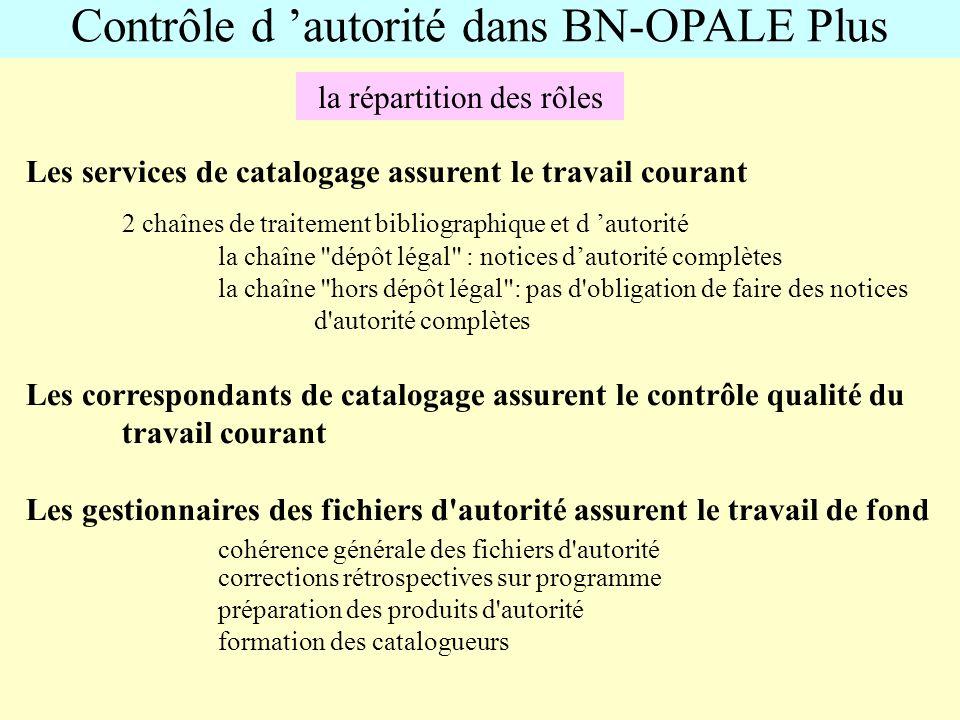 Contrôle d autorité dans BN-OPALE Plus la répartition des rôles Les services de catalogage assurent le travail courant 2 chaînes de traitement bibliog