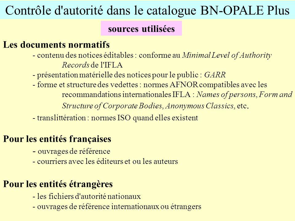 Contrôle d'autorité dans le catalogue BN-OPALE Plus sources utilisées Les documents normatifs - contenu des notices éditables : conforme au Minimal Le