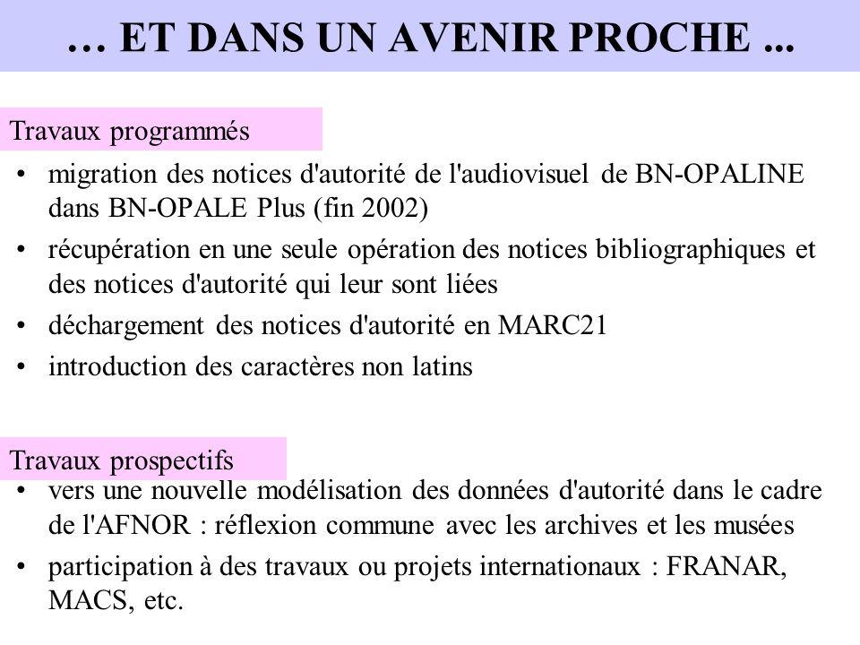 … ET DANS UN AVENIR PROCHE... migration des notices d'autorité de l'audiovisuel de BN-OPALINE dans BN-OPALE Plus (fin 2002) récupération en une seule