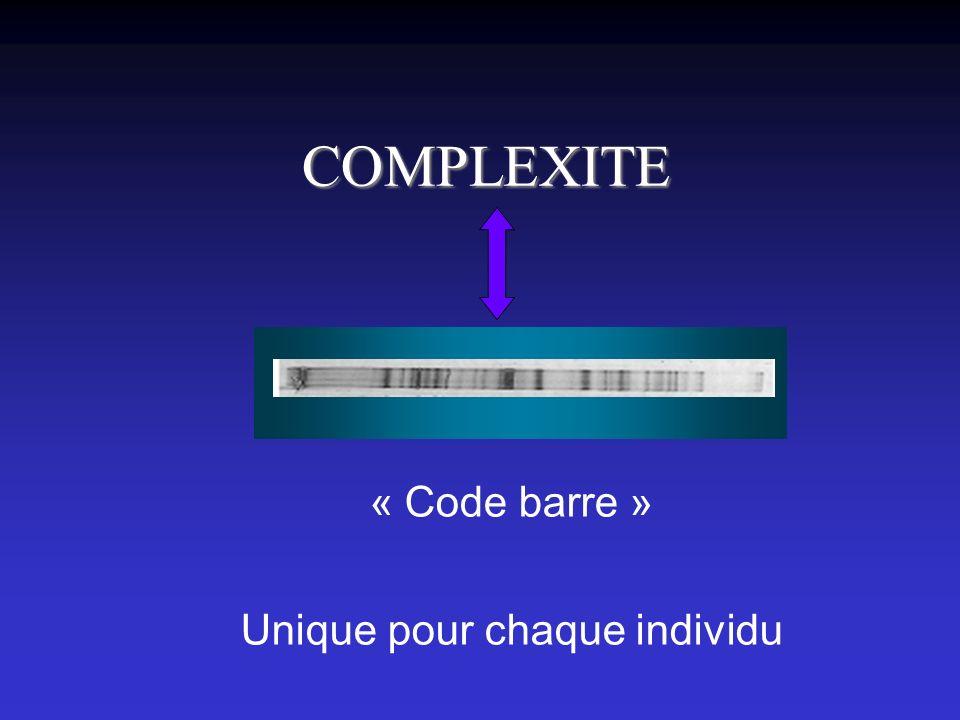 COMPLEXITE Unique pour chaque individu « Code barre »
