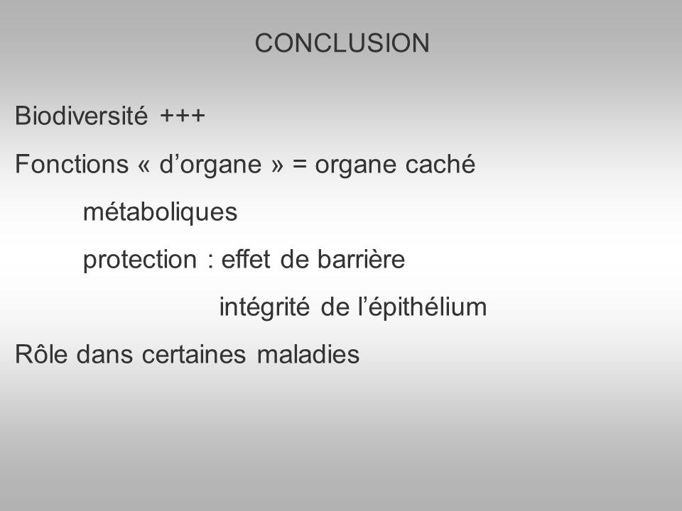 CONCLUSION Biodiversité +++ Fonctions « dorgane » = organe caché métaboliques protection : effet de barrière intégrité de lépithélium Rôle dans certaines maladies