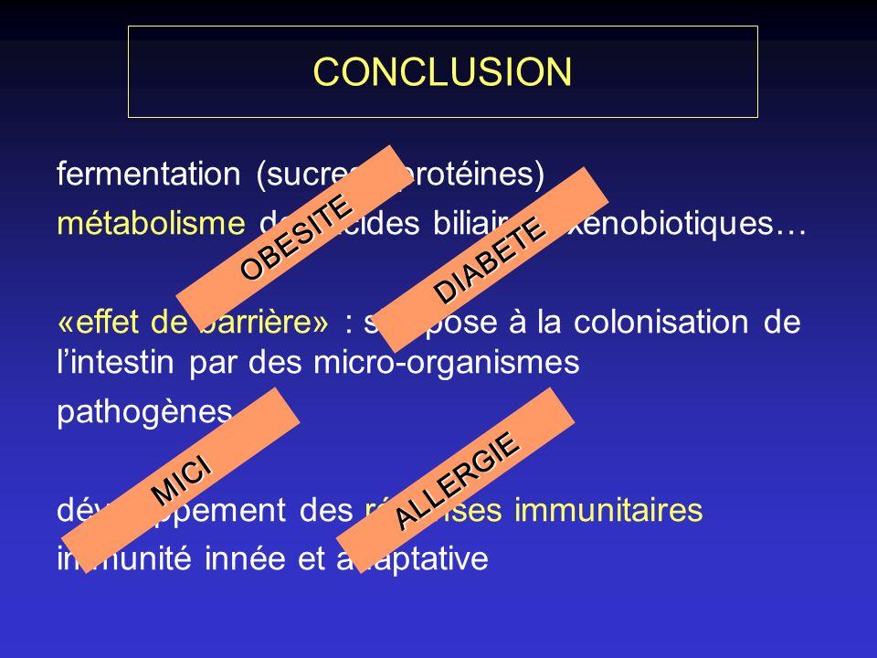 fermentation (sucres / protéines) métabolisme des acides biliaires, xénobiotiques… «effet de barrière» : s oppose à la colonisation de lintestin par des micro-organismes pathogènes développement des réponses immunitaires immunité innée et adaptative OBESITE DIABETE ALLERGIEMICI CONCLUSION