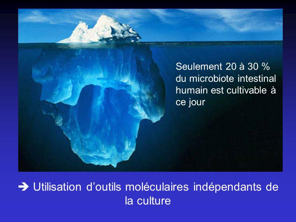 Utilisation doutils moléculaires indépendants de la culture Seulement 20 à 30 % du microbiote intestinal humain est cultivable à ce jour
