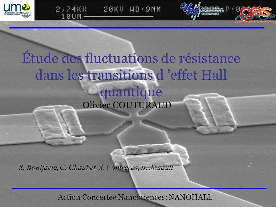 1 Étude des fluctuations de résistance dans les transitions d effet Hall quantique Olivier COUTURAUD S. Bonifacie, C. Chaubet, S. Contreras, B. Jouaul