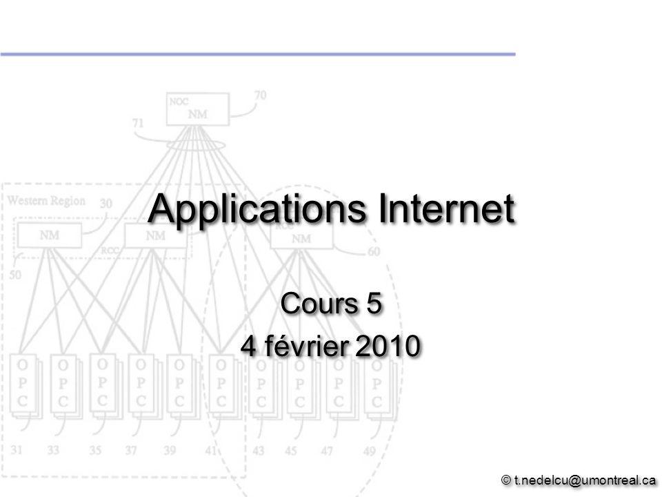 Applications Internet Cours 5 4 février 2010 © t.nedelcu@umontreal.ca Cours 5 4 février 2010 © t.nedelcu@umontreal.ca