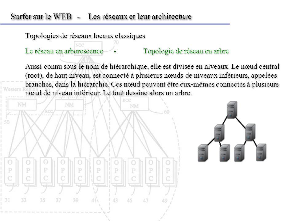 Surfer sur le WEB - Les réseaux et leur architecture Topologies de réseaux locaux classiques Le réseau en arborescence-Topologie de réseau en arbre Aussi connu sous le nom de hiérarchique, elle est divisée en niveaux.