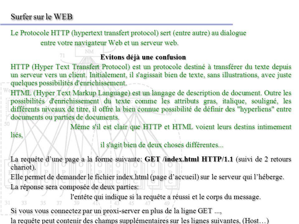 Surfer sur le WEB Le Protocole HTTP (hypertext transfert protocol) sert (entre autre) au dialogue entre votre navigateur Web et un serveur web. Eviton