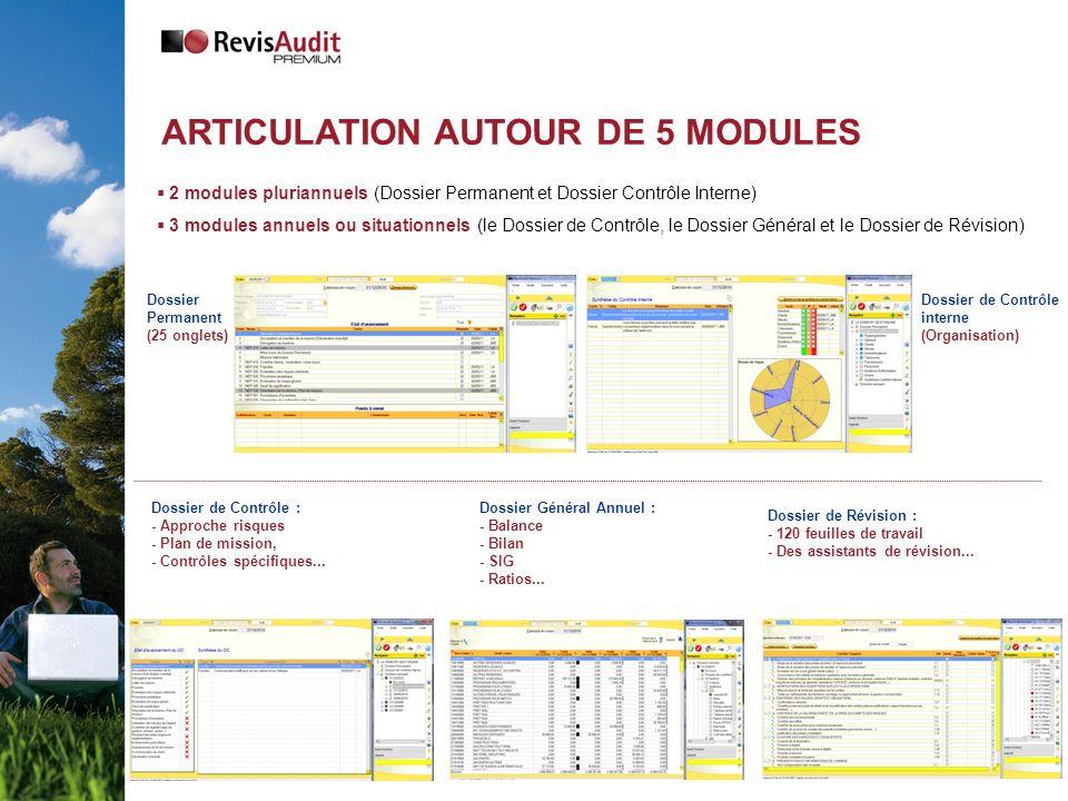 2 modules pluriannuels (Dossier Permanent et Dossier Contrôle Interne) 3 modules annuels ou situationnels (le Dossier de Contrôle, le Dossier Général