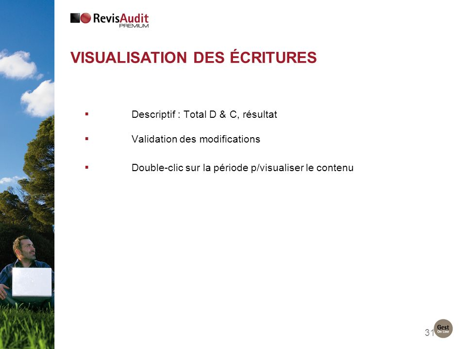 31 VISUALISATION DES ÉCRITURES Descriptif : Total D & C, résultat Validation des modifications Double-clic sur la période p/visualiser le contenu