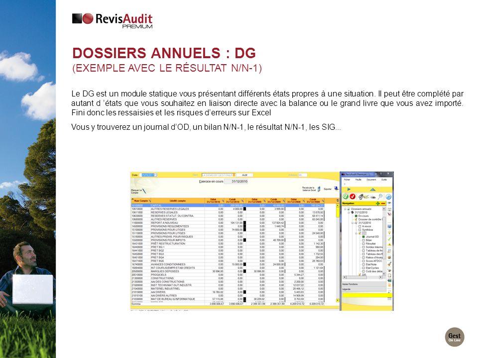 DOSSIERS ANNUELS : DG (EXEMPLE AVEC LE RÉSULTAT N/N-1) Le DG est un module statique vous présentant différents états propres à une situation. Il peut