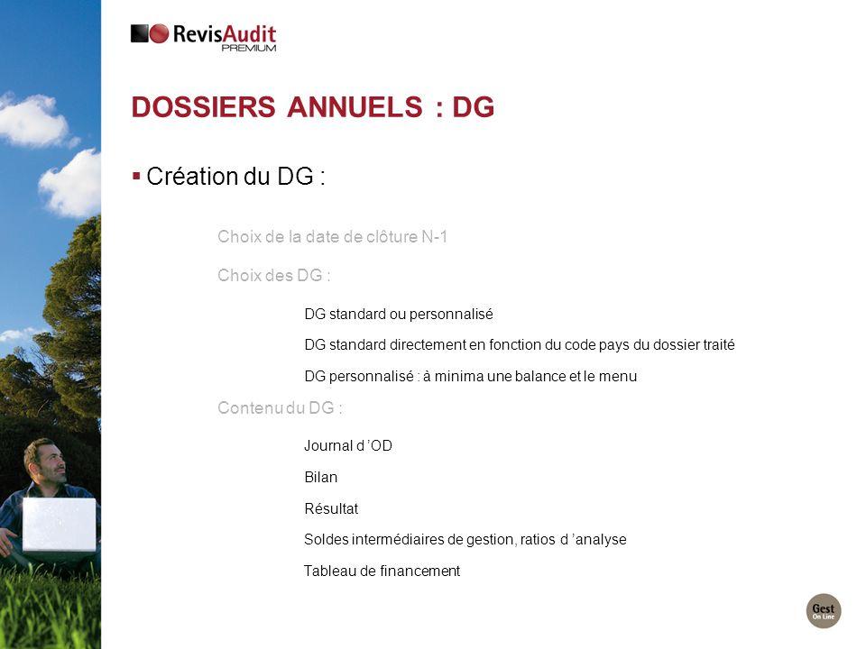 DOSSIERS ANNUELS : DG Création du DG : Choix de la date de clôture N-1 Choix des DG : DG standard ou personnalisé DG standard directement en fonction