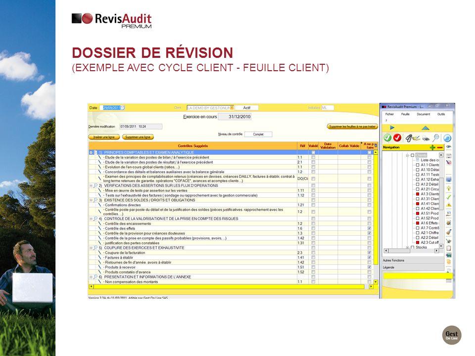 DOSSIER DE RÉVISION (EXEMPLE AVEC CYCLE CLIENT - FEUILLE CLIENT)
