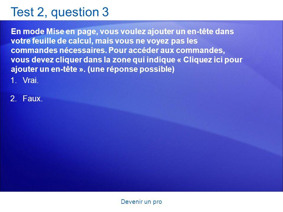 Devenir un pro Test 2, question 3 En mode Mise en page, vous voulez ajouter un en-tête dans votre feuille de calcul, mais vous ne voyez pas les comman