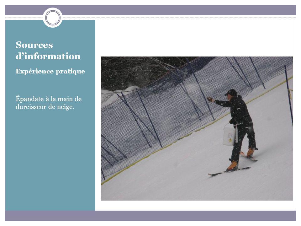 Sources dinformation Expérience pratique Épandate à la main de durcisseur de neige.