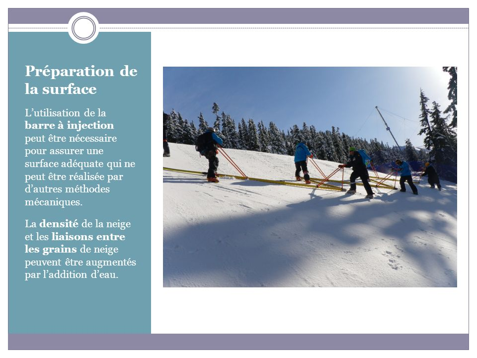 Préparation de la surface Les durcisseurs de neige sont les seuls moyens actuels qui augmentent la force de la neige lorsque la température est au- dessus du point de congélation.