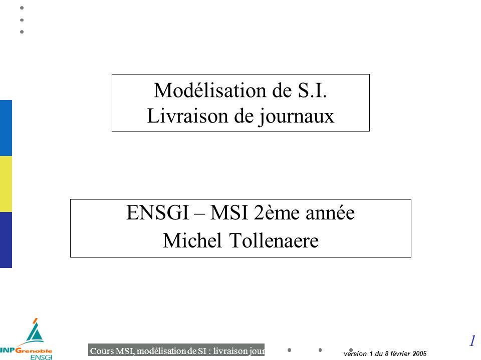 1 Cours MSI, modélisation de SI : livraison journaux version 1 du 8 février 2005 Modélisation de S.I.