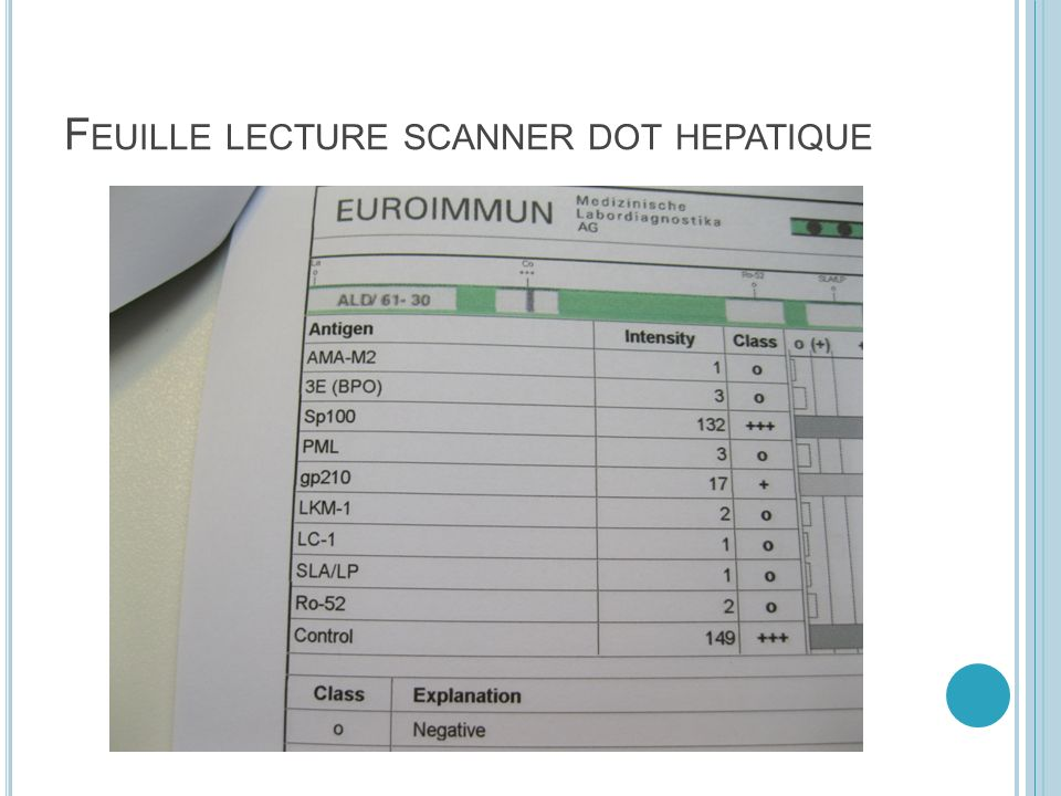 F EUILLE LECTURE SCANNER DOT HEPATIQUE